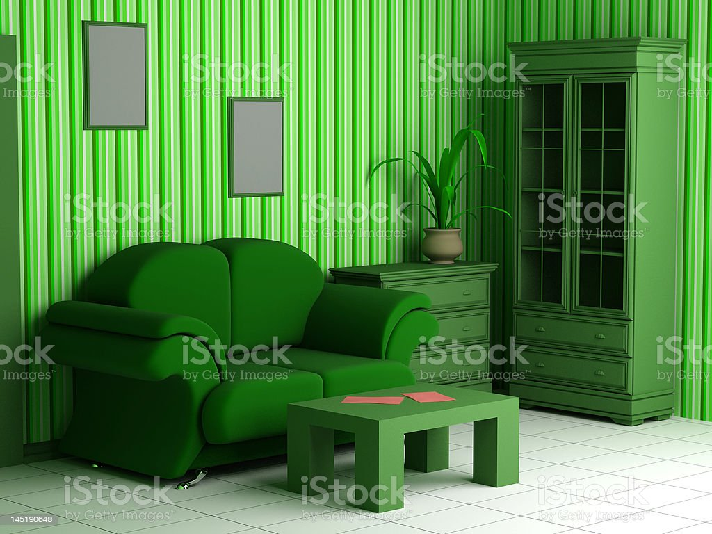 modern interior 3d royalty-free stock photo