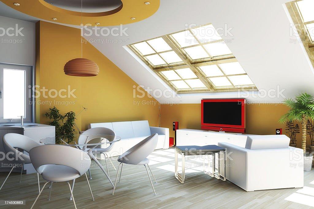 Modern interior 3d render royalty-free stock photo
