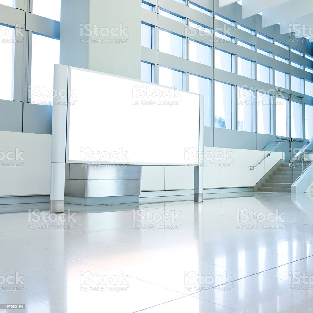 Modern interior and a white board of an office background stock photo