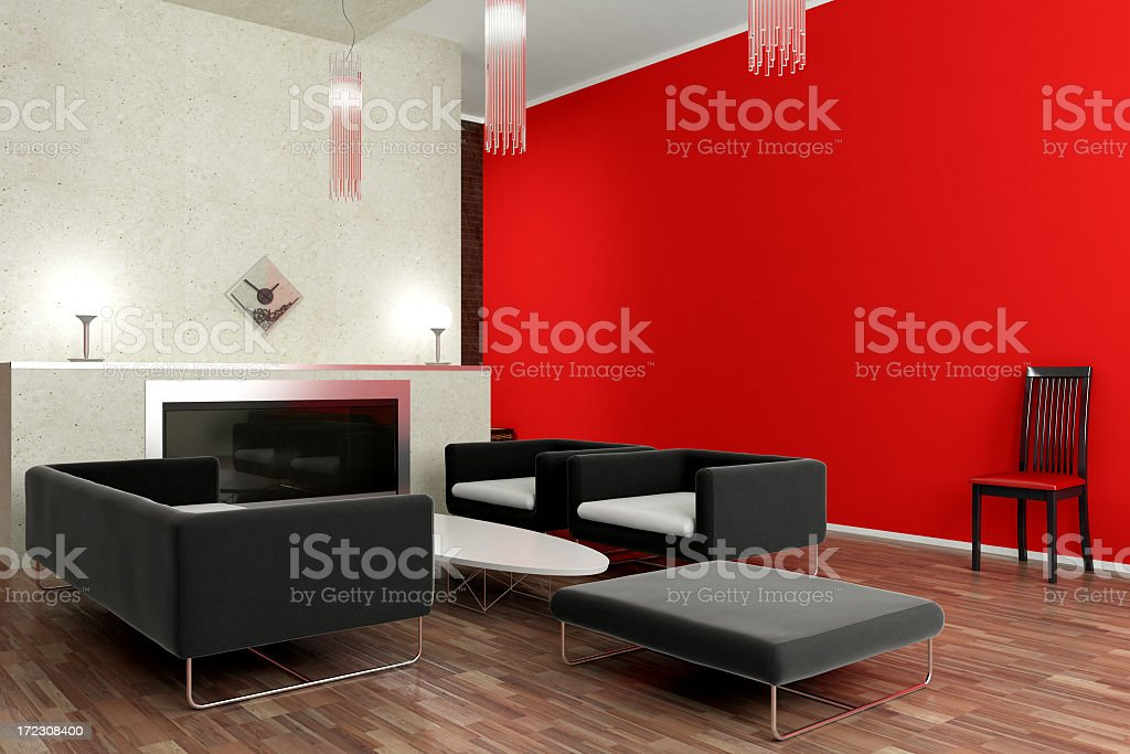 Modern interior and spaces of living room stock photo