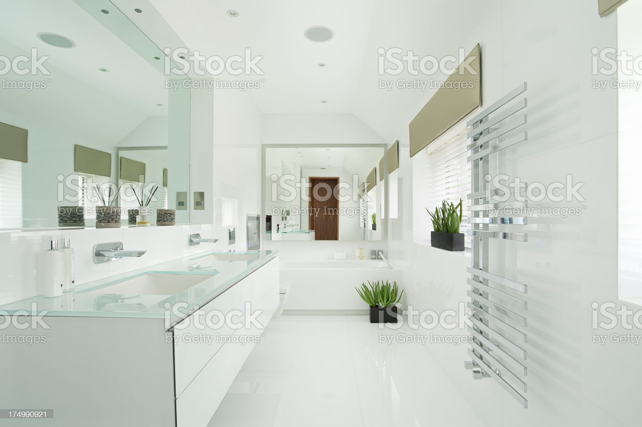 Modern interior design of white bright bathroom royalty-free stock photo