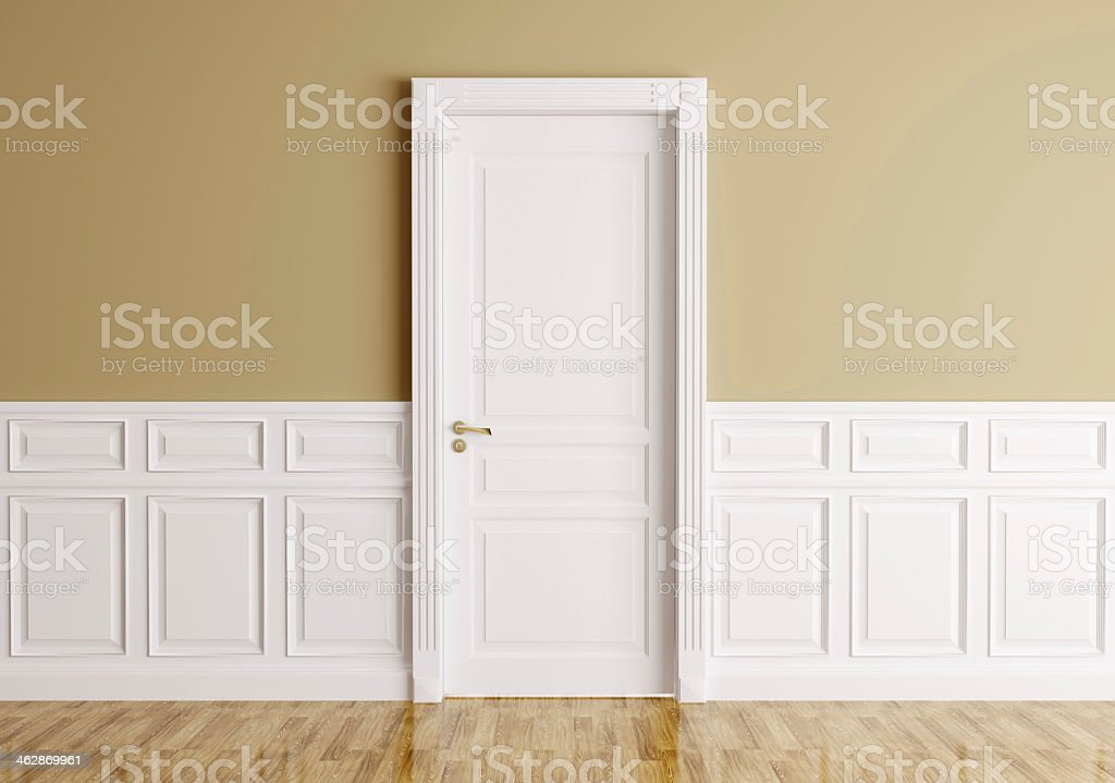 Modern interior design with classic door stock photo