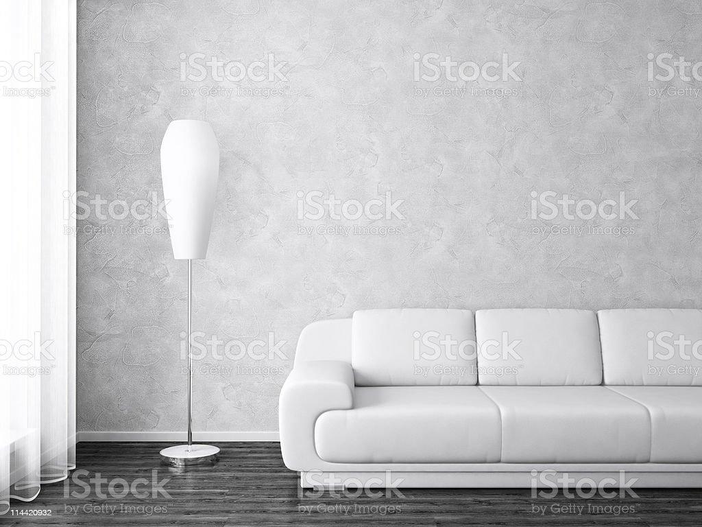 Modern interior in monochrome stock photo