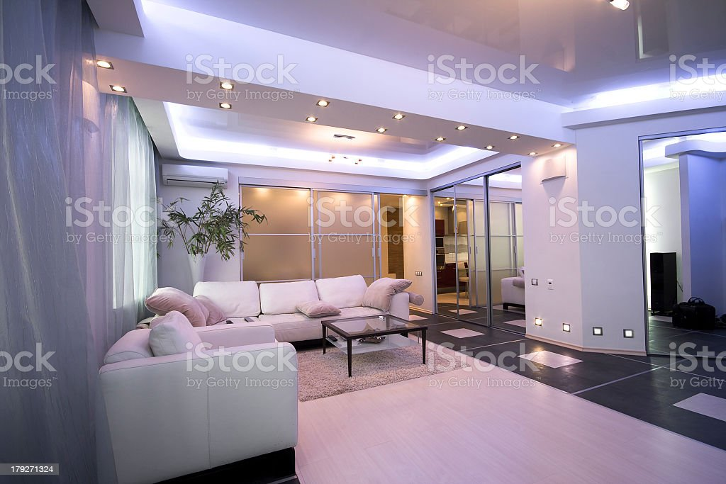 A modern interior of a living room space royalty-free stock photo