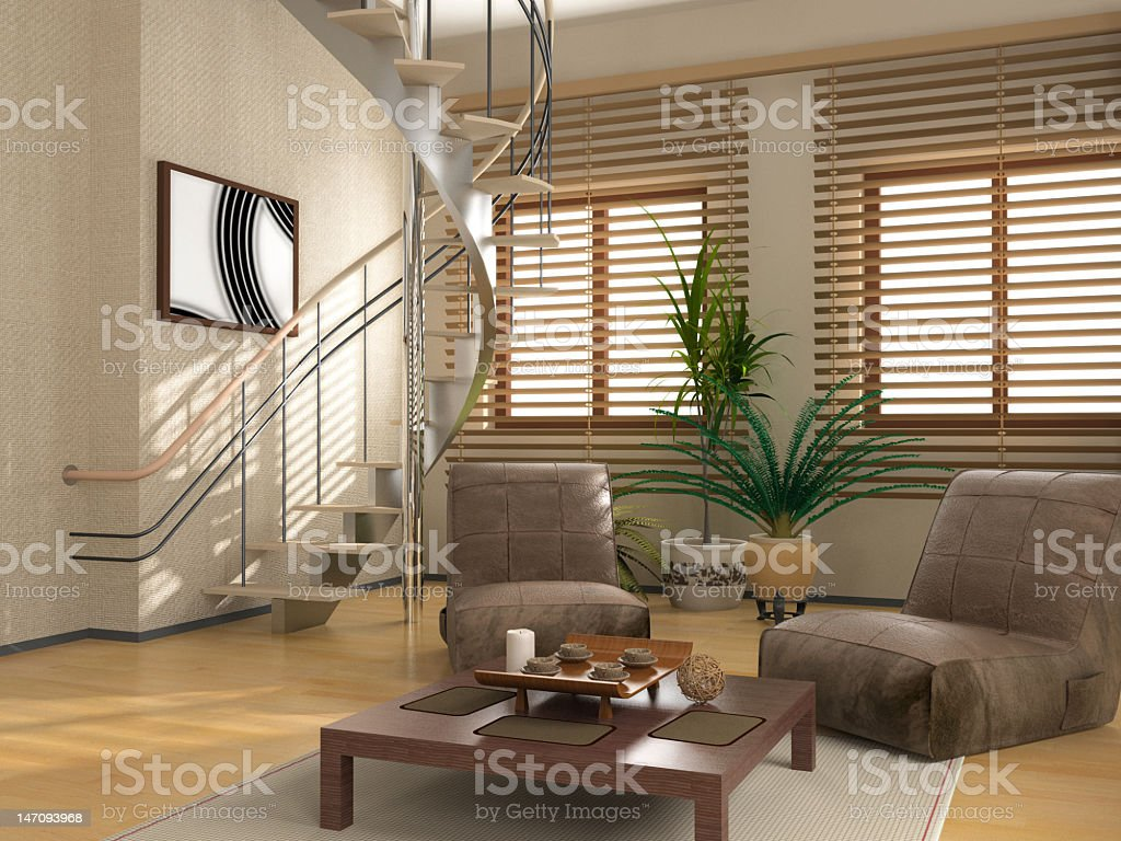 Modern interior of a spiral staircase stock photo