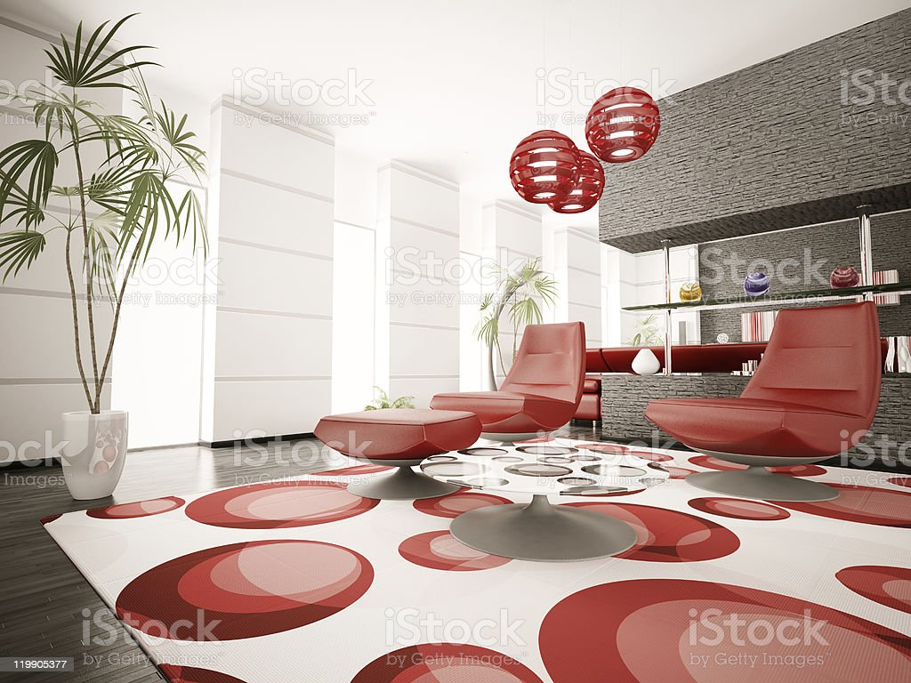 Modern interior of living room 3d render royalty-free stock photo