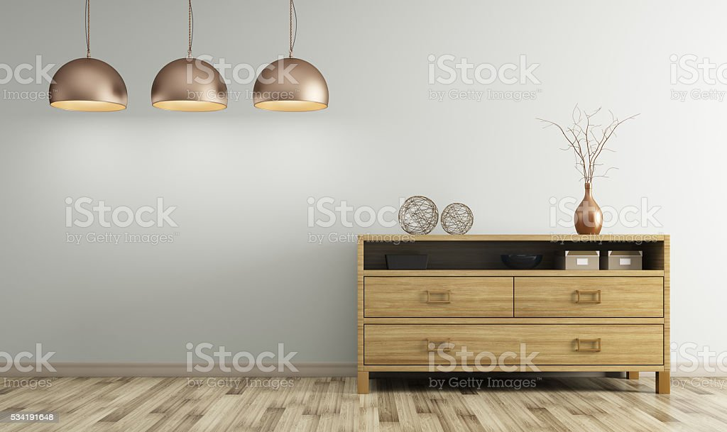 Modern interior of living room with wooden dresser 3d rendering stock photo