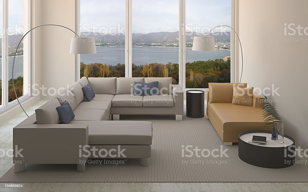 Modern interior of living-room. royalty-free stock photo