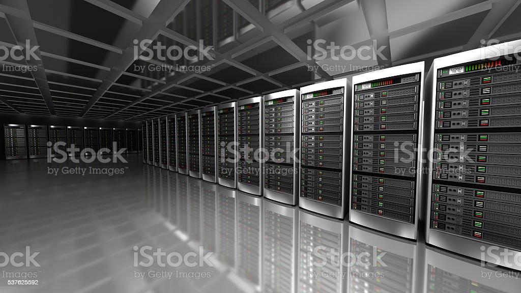 Modern interior of server room in datacenter stock photo