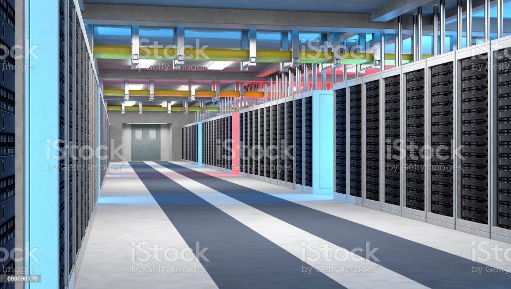 Modern interior of server room, Super Computer, Server Room, Datacenter stock photo