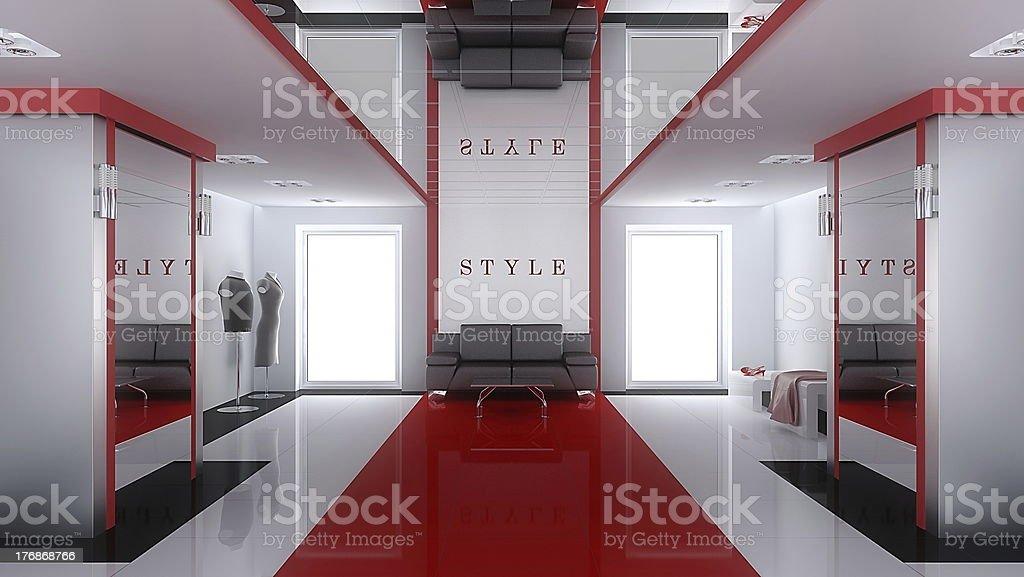 Modern interior of shop stock photo