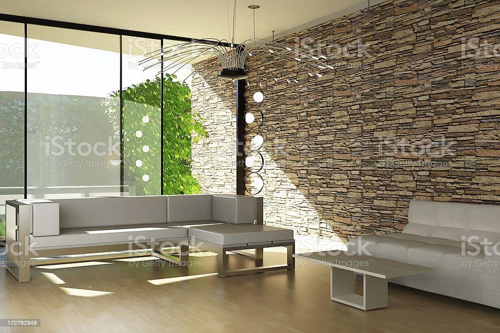 Modern Interior render (CGI) royalty-free stock photo