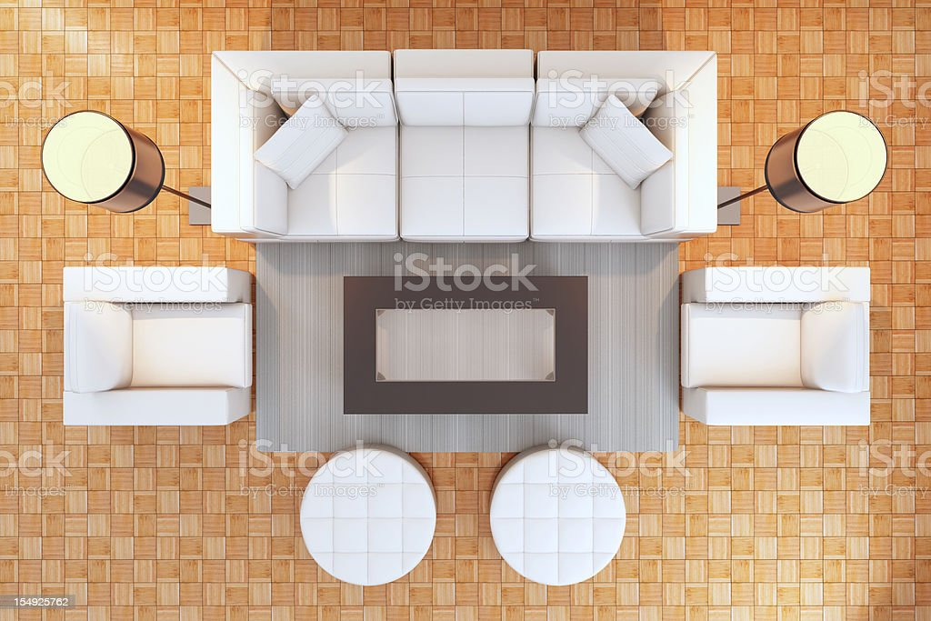 Modern interior top view royalty-free stock photo