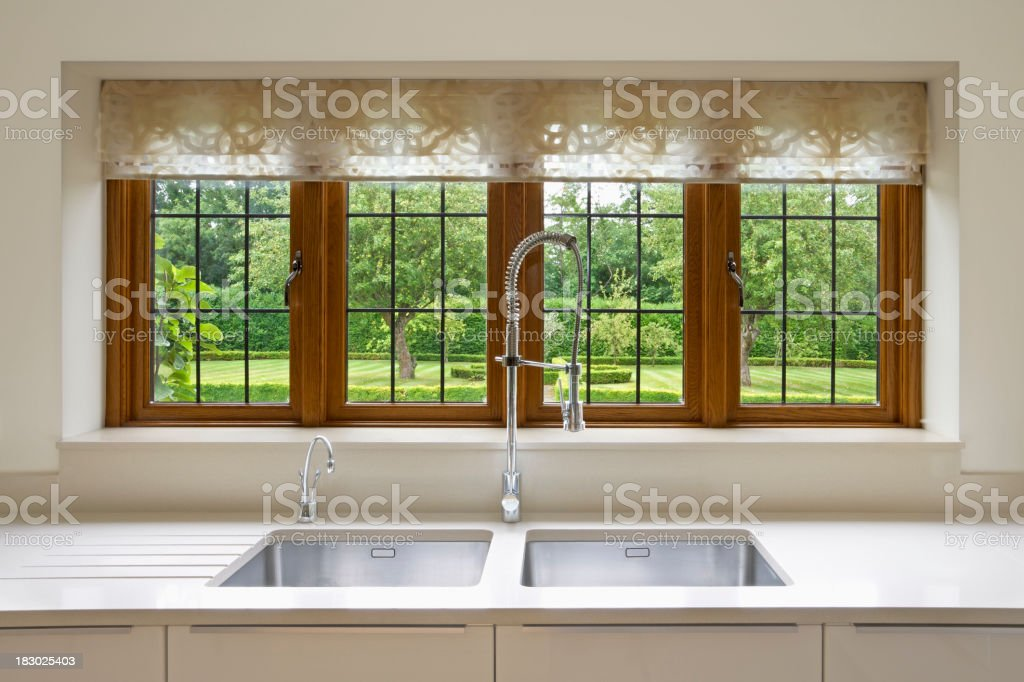 Modern interior view of kitchen window looking into yard stock photo