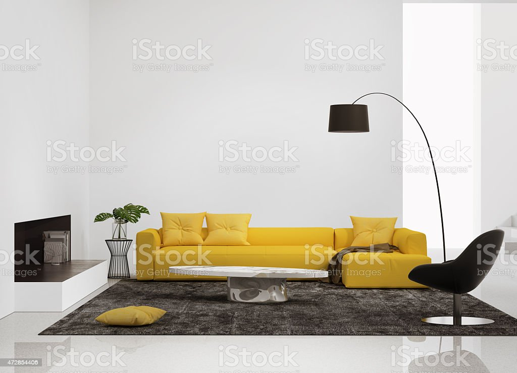 Modern interior with a yellow sofa in the living room stock photo