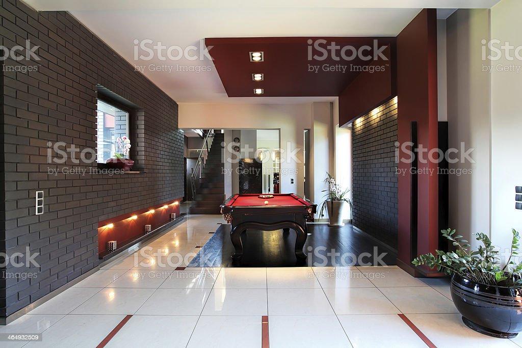 Modern interior with billiard table stock photo