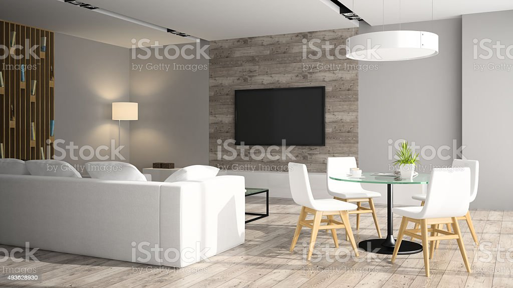 Modern interior with black sofa 3D rendering stock photo