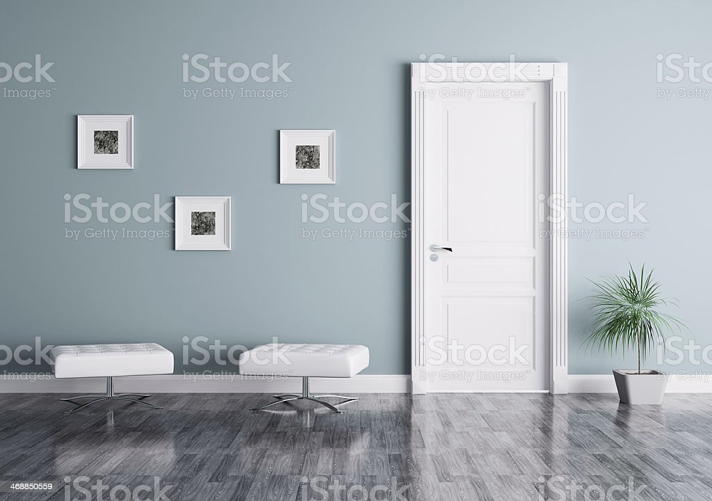 Modern interior with door and seats stock photo