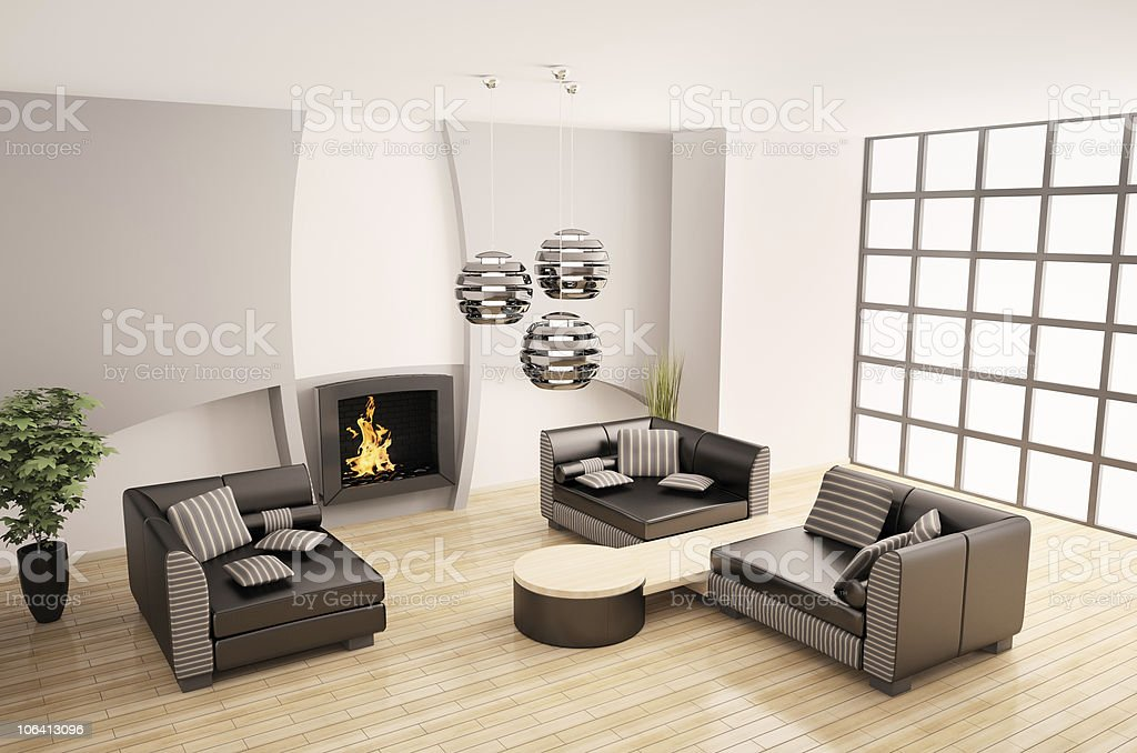 Modern interior with fireplace 3d royalty-free stock photo