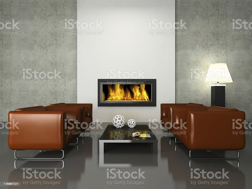 Modern interior with fireplace stock photo