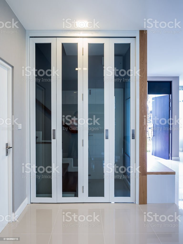 Modern interior with folding doors stock photo