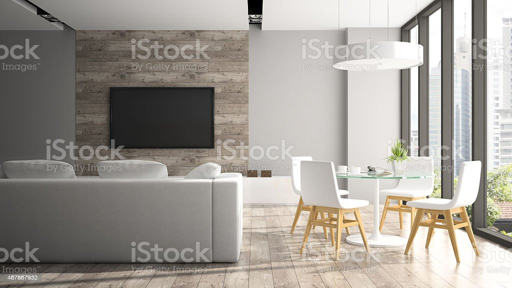 Modern interior with fout white chairs 3D rendering stock photo