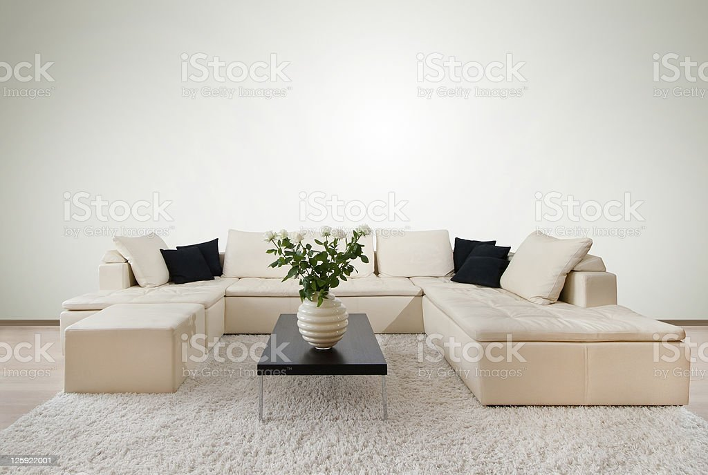 Modern interior with free wall space royalty-free stock photo