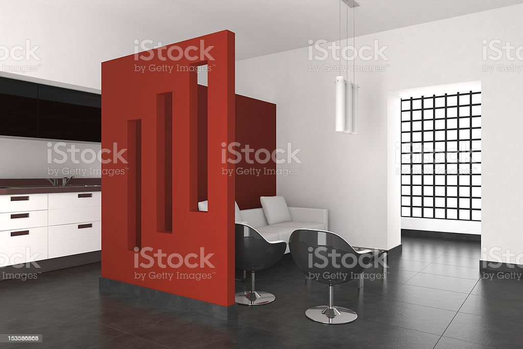 modern interior with living room and kitchen royalty-free stock photo
