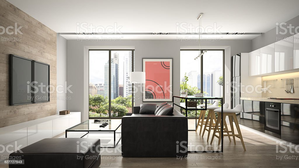 Modern interior with parquet floor and black sofa 3D rendering stock photo