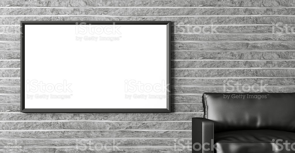 Modern interior with poster and black sofa 3d rendering stock photo