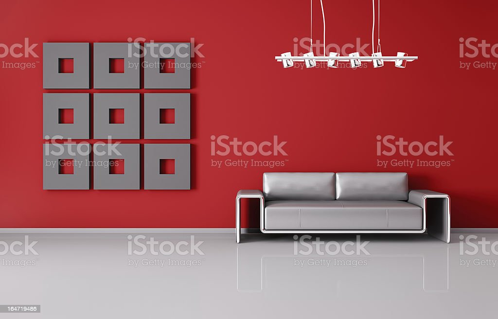 Modern interior with sofa 3d render royalty-free stock photo