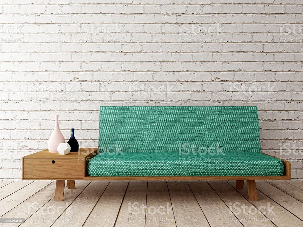 modern interior with sofa on brick wall stock photo