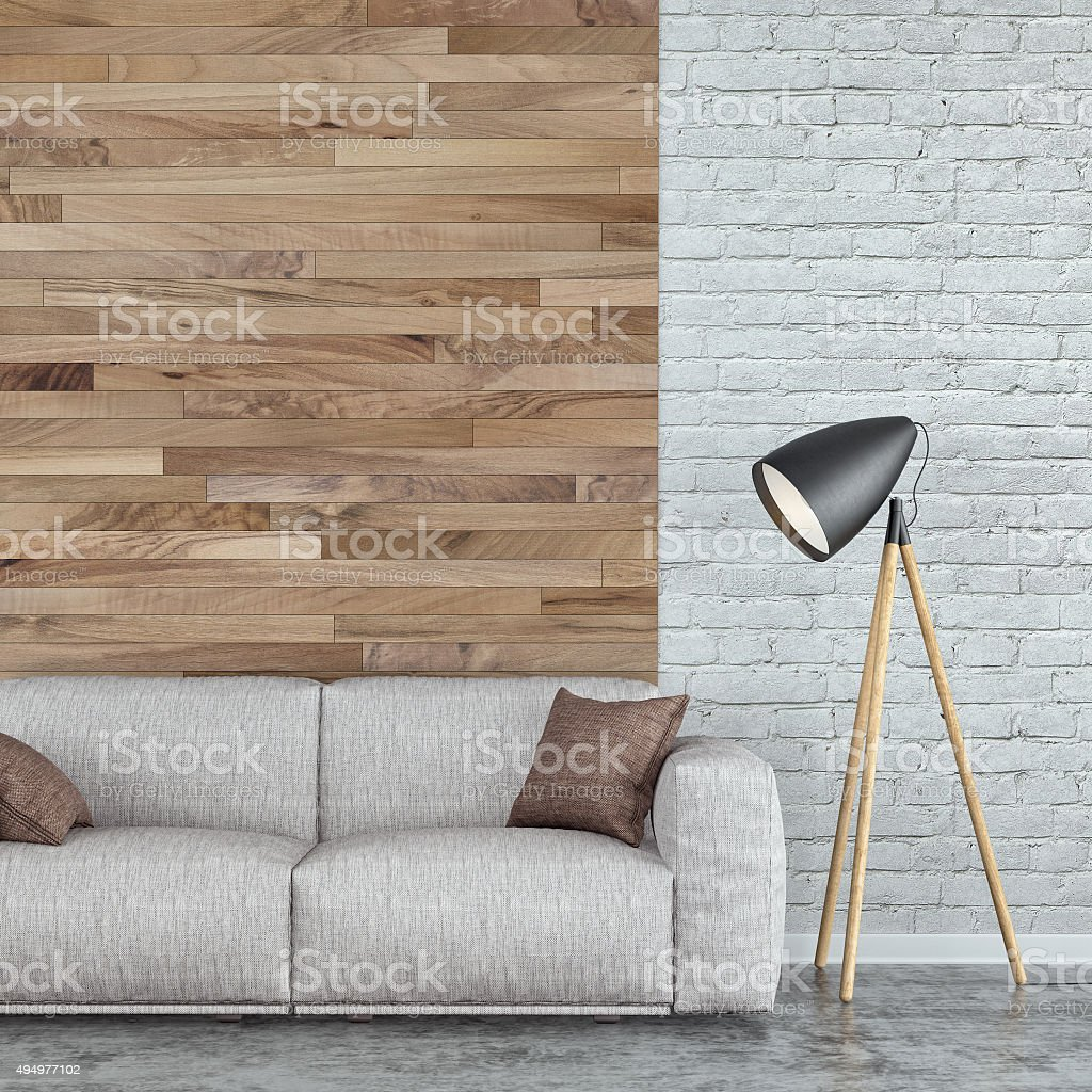 Modern interior with sofa stock photo