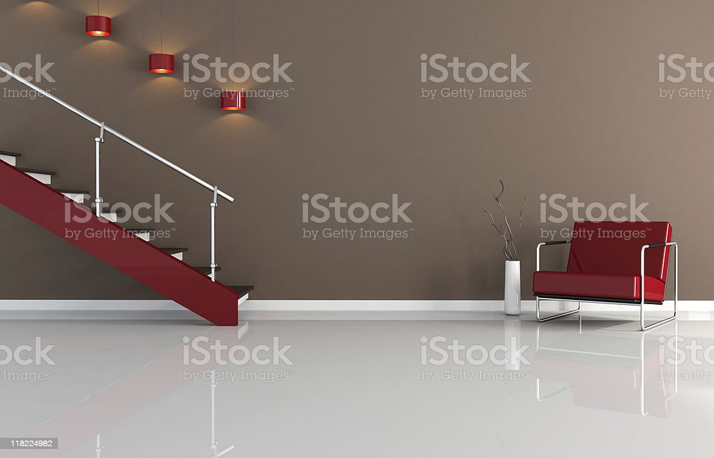 modern interior with staircase royalty-free stock photo