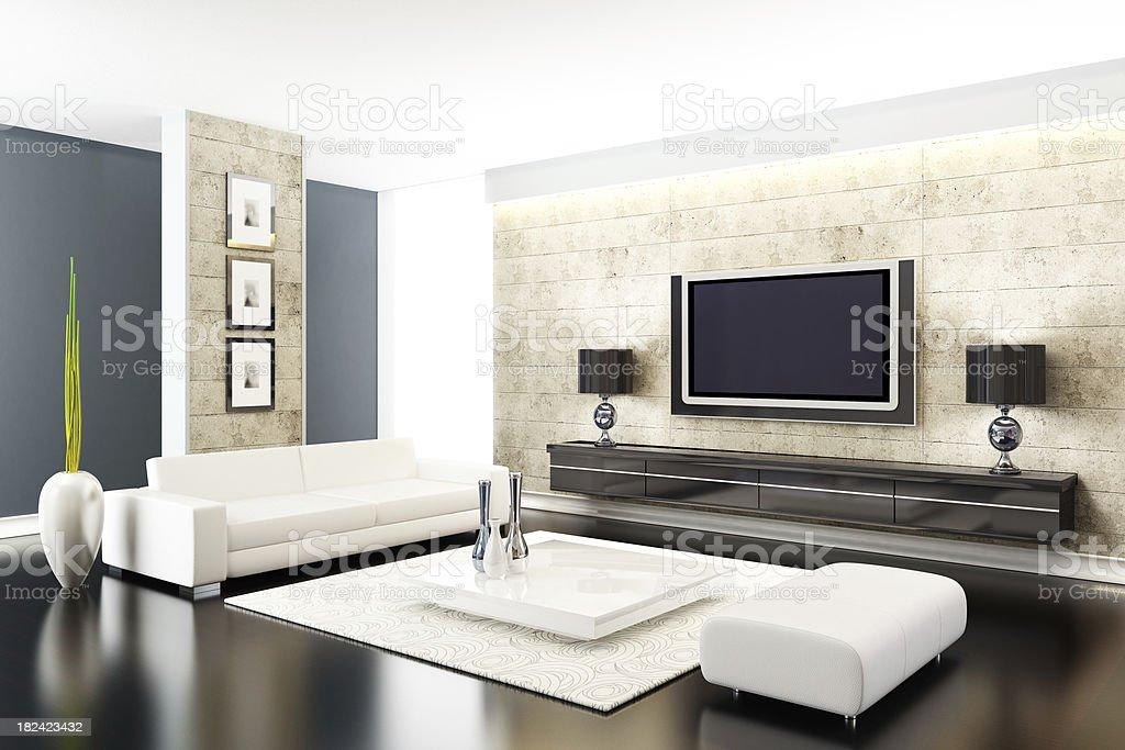 Modern Interior with stone walls royalty-free stock photo