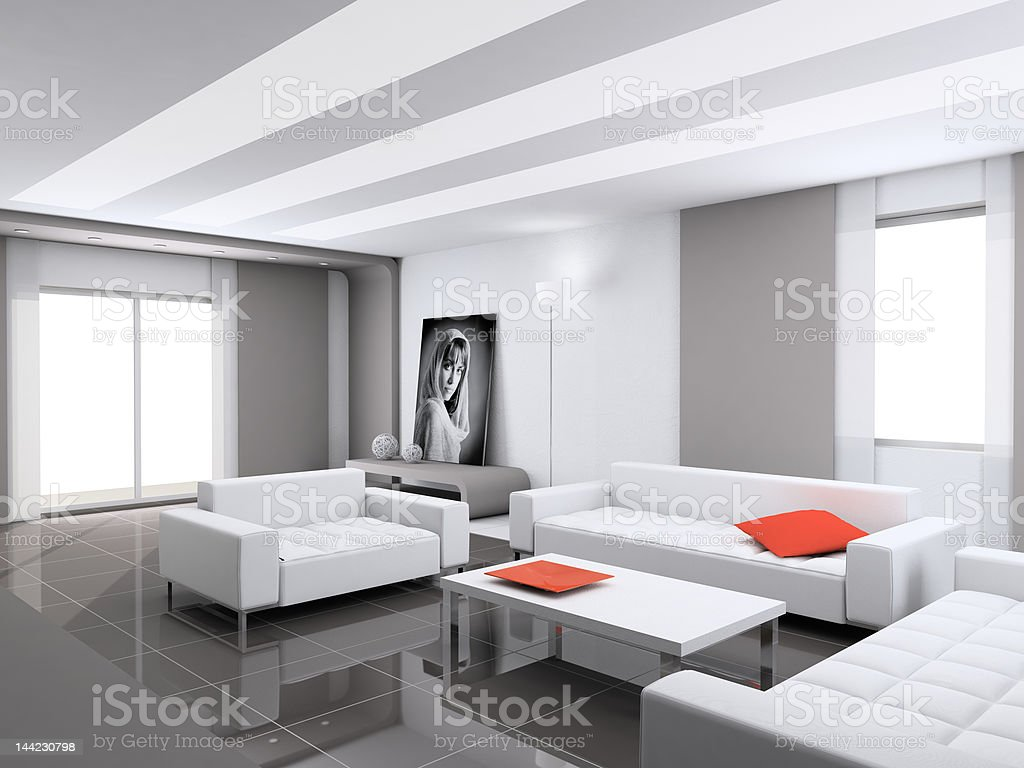 Modern interior with the fashionable picture. royalty-free stock photo
