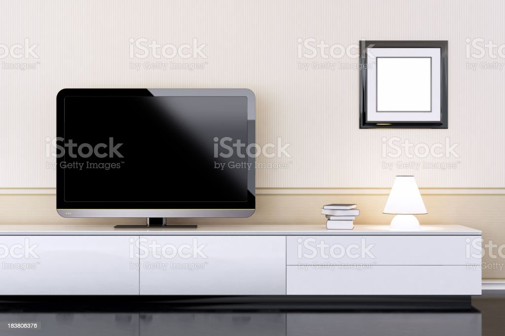 Modern Interior with TV stock photo