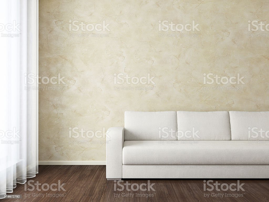 Modern interior with white sofa near wall stock photo