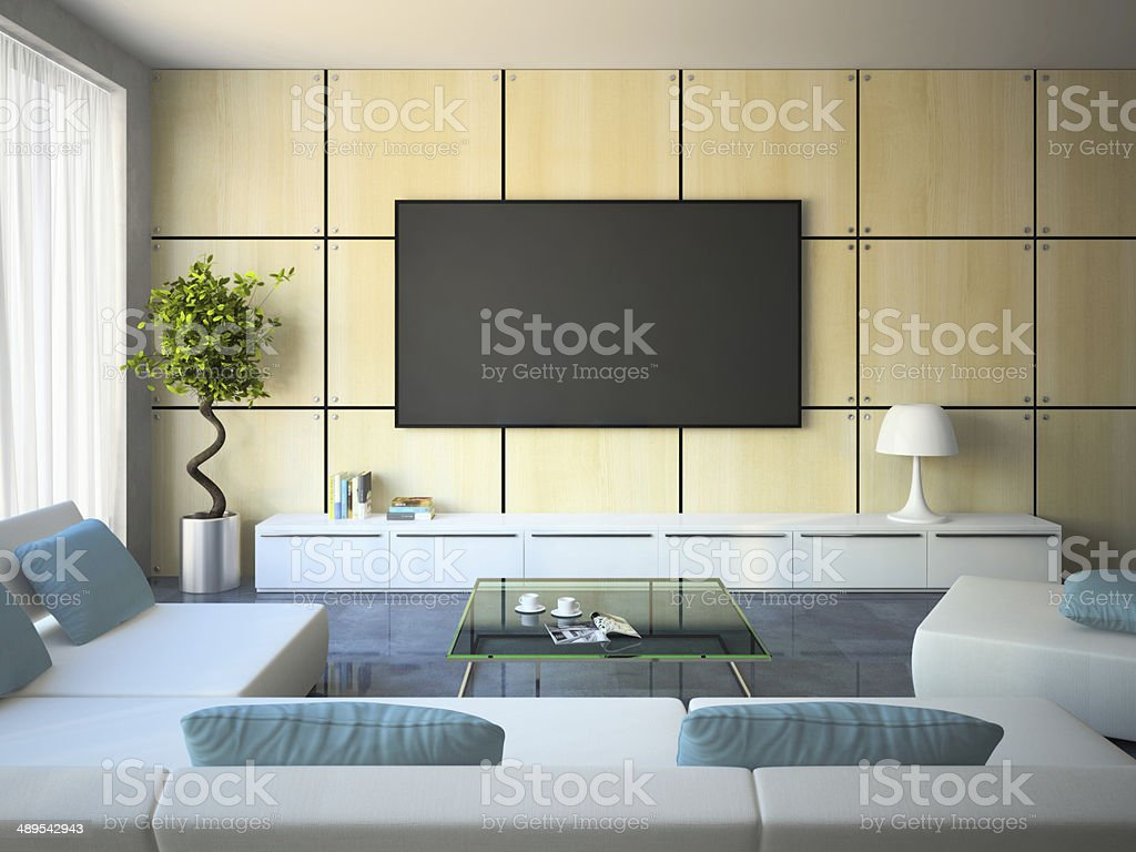 Modern interior with white sofas and blue pillows stock photo