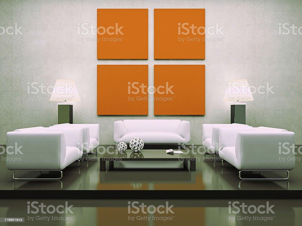 Modern interior with white sofas royalty-free stock photo