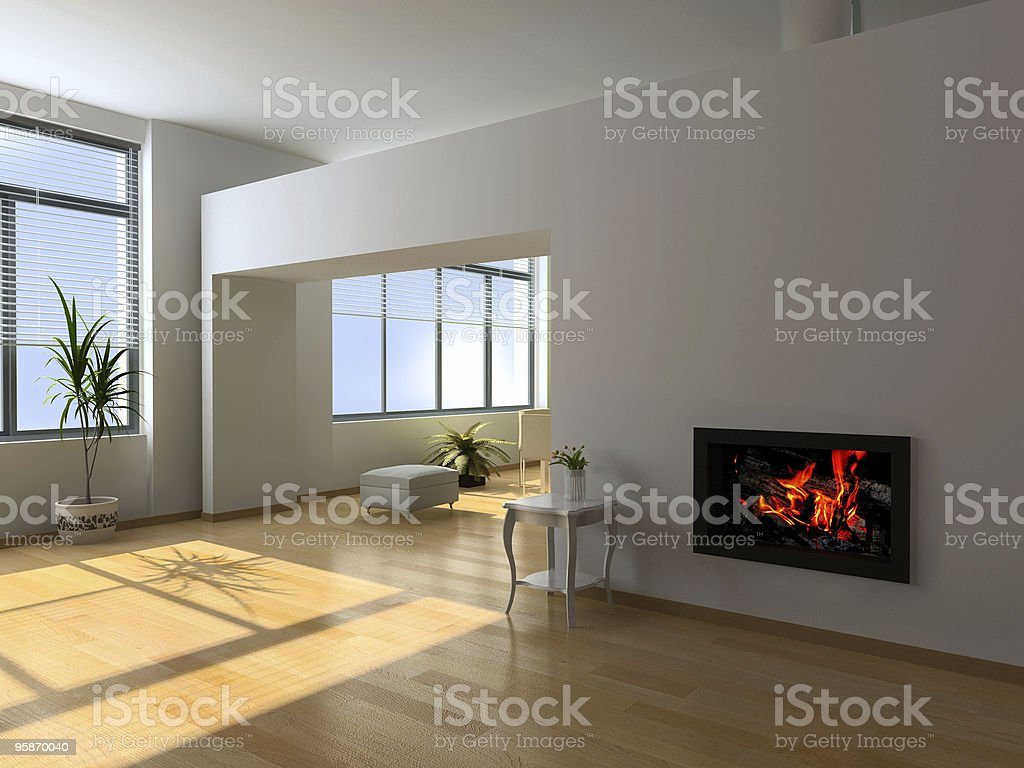 A modern interior with white wall and a fireplace stock photo