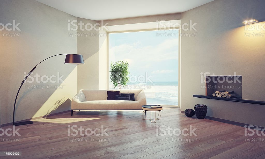 modern interior with window stock photo