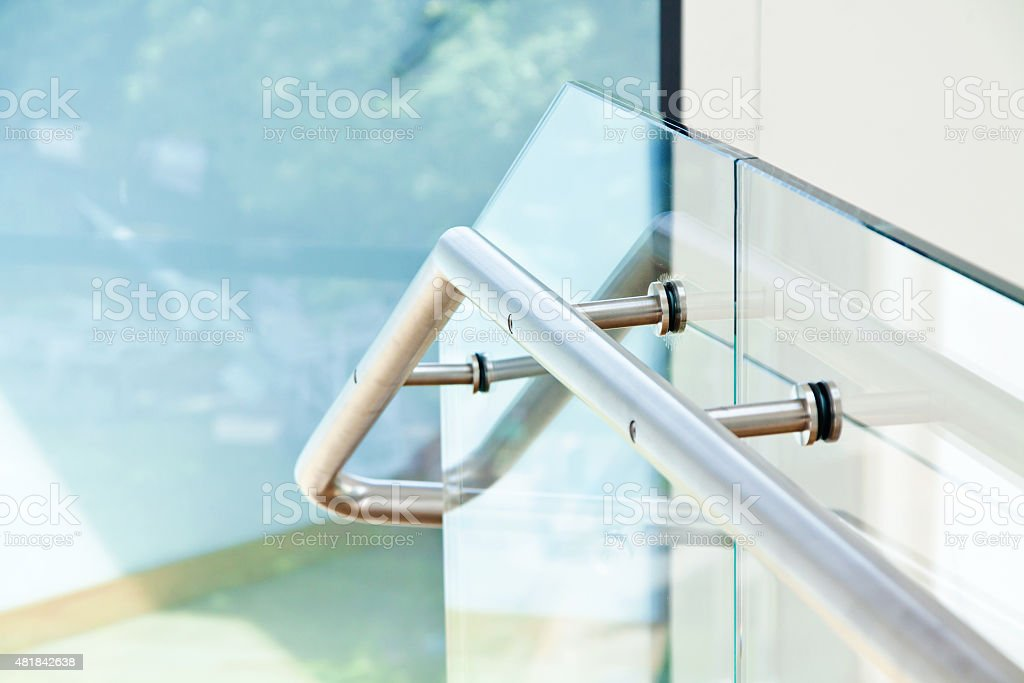 Modern interior with wooden stairs stock photo