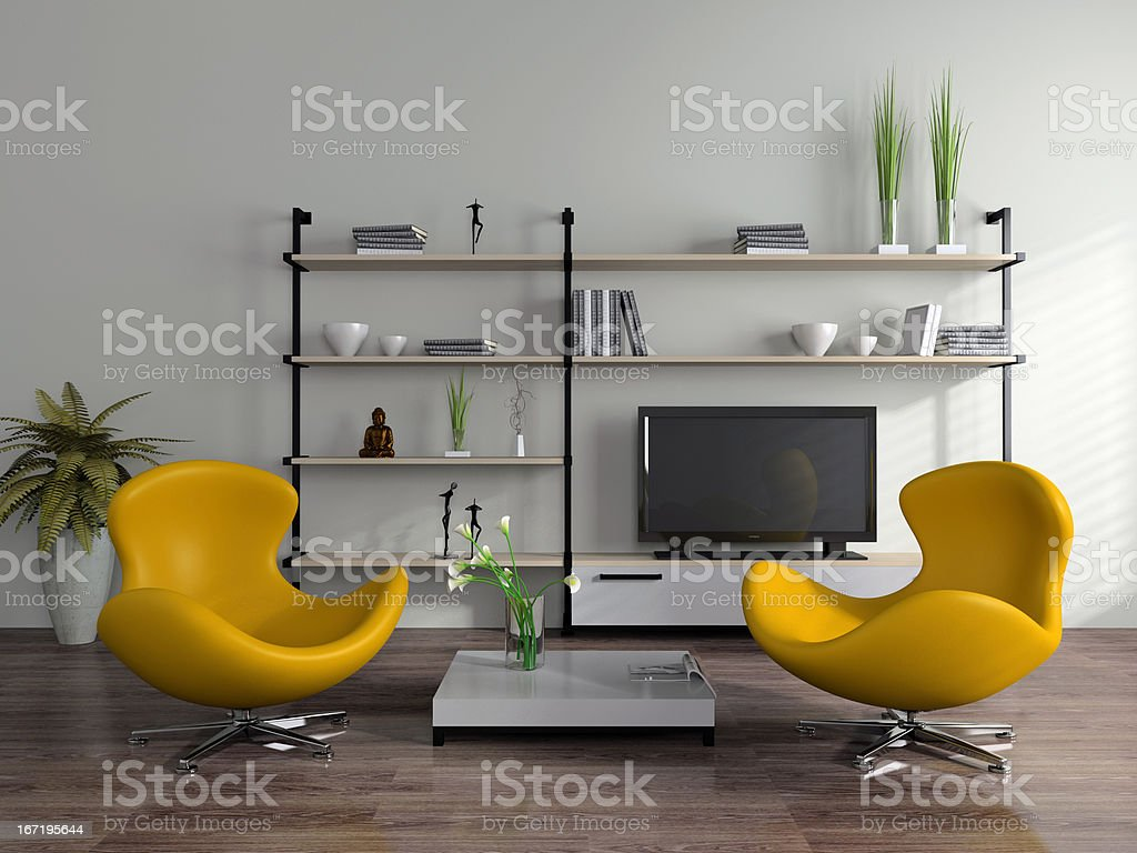 Modern interior with yellow armchairs royalty-free stock photo