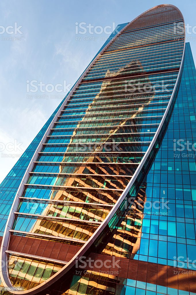 Modern International Business Center Moscow City,afternoon,reflection, Moscow, Russia stock photo