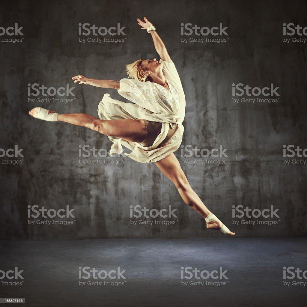 Modern Jazz dancer practicing stock photo