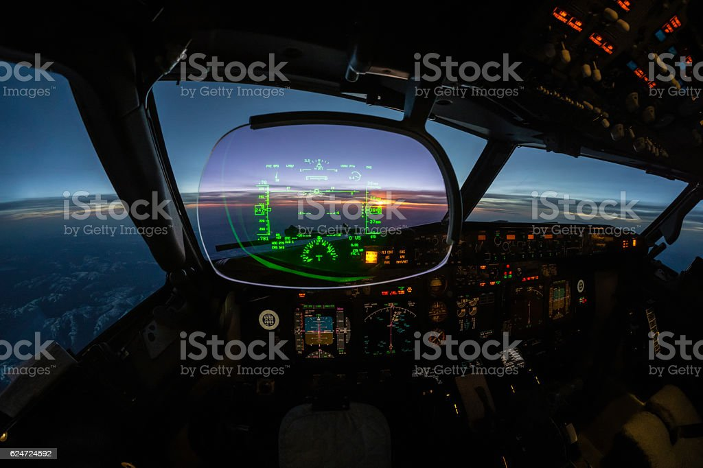 modern jet cockpit flight instruments stock photo