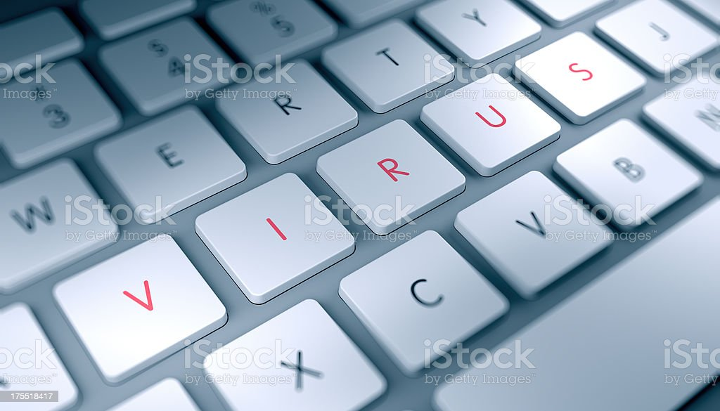 Modern keyboard closeup with VIRUS text royalty-free stock photo