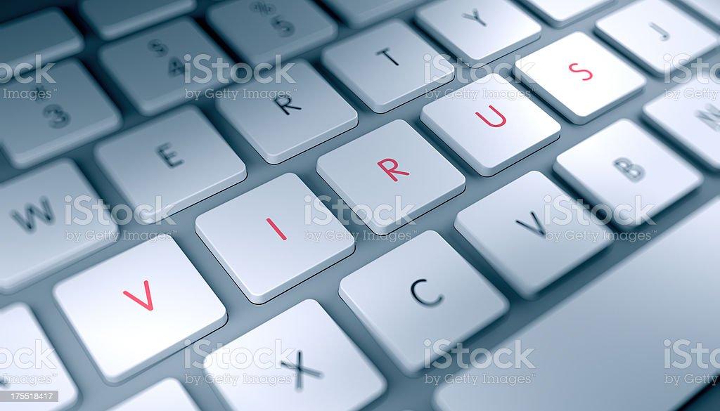 Modern keyboard closeup with VIRUS text stock photo