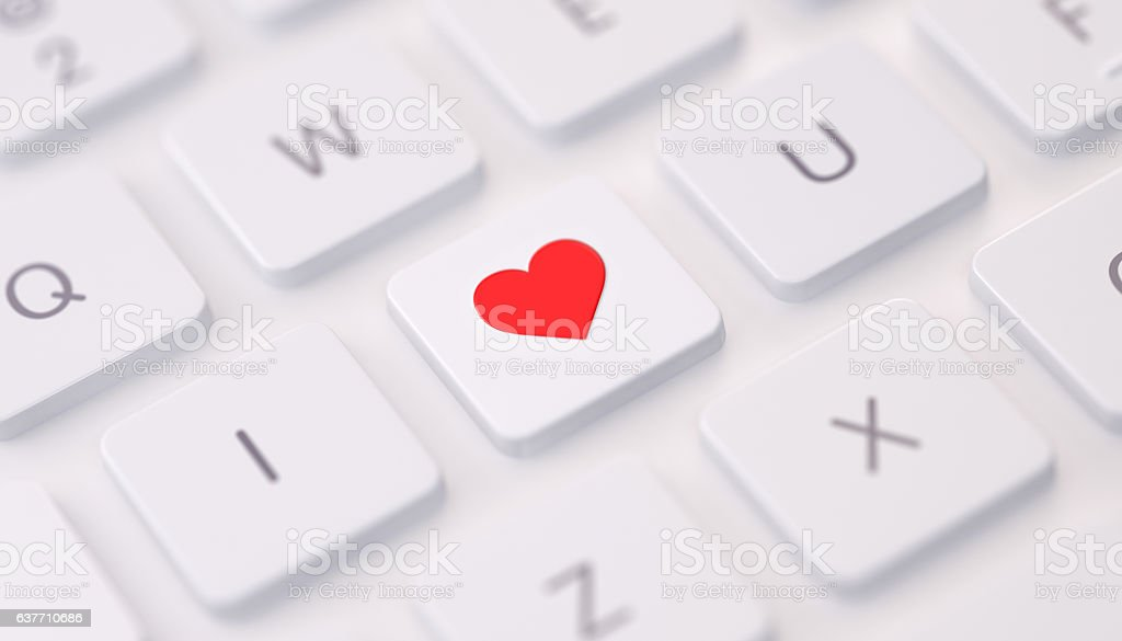 Modern Keyboard wih I Love You Message stock photo